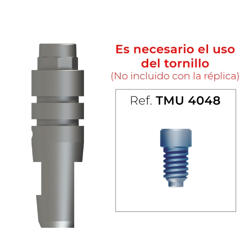 Réplica para pilar multi-posición recto estético anti-rotacional (diámetro 4mm)